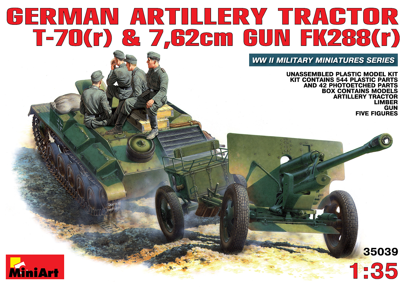 35039 GERMAN ARTILLERY TRACTOR T-70(r) AND 7,62cm FK 288(r) w/CREW