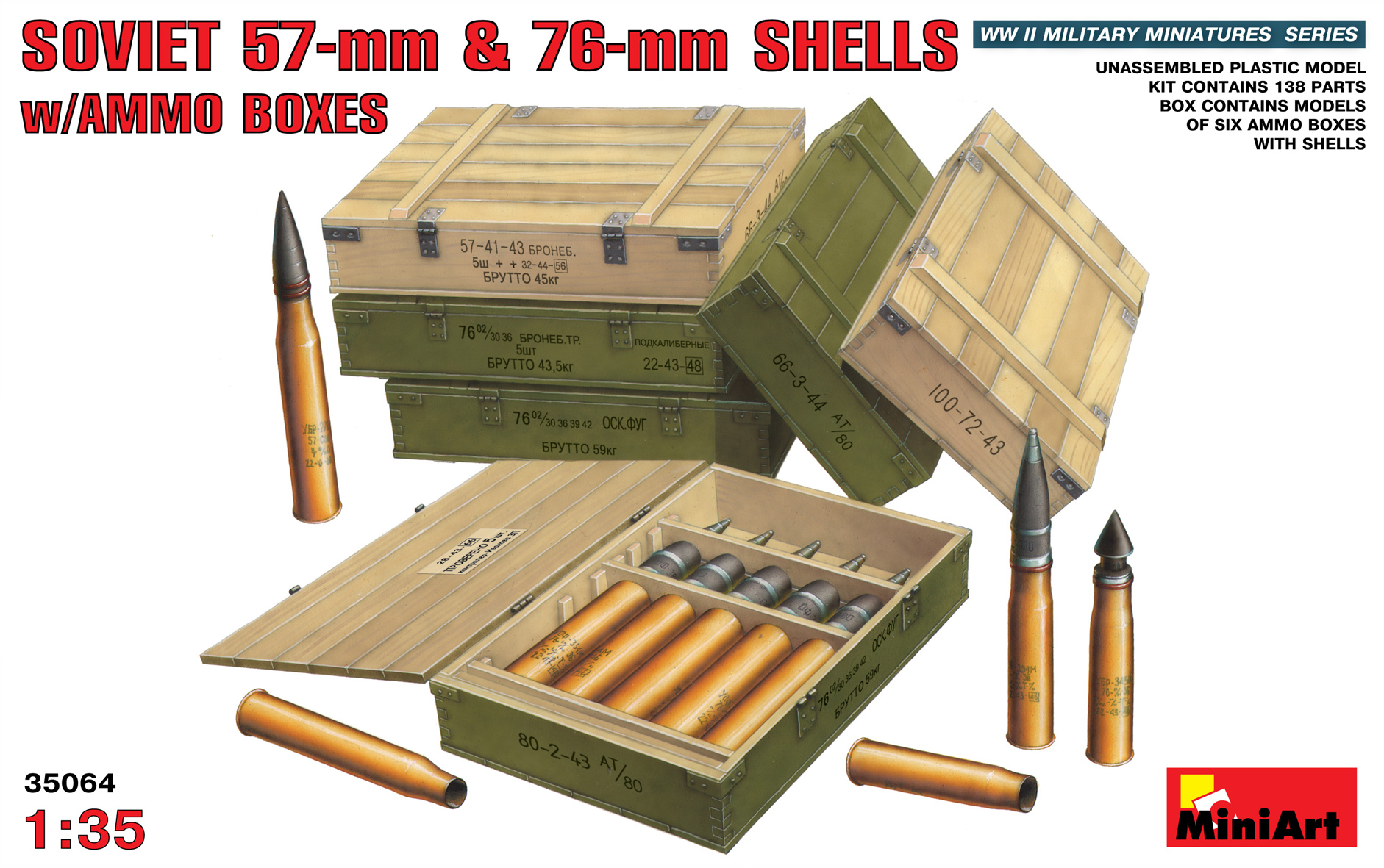 SOVIET 57-mm & 76-mm SHELLS w/AMMO BOXES