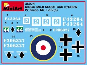 Content box 35074 DINGO Mk.II SCOUT CAR w/CREW Pz.Kmpf. Mk.I 202(e)