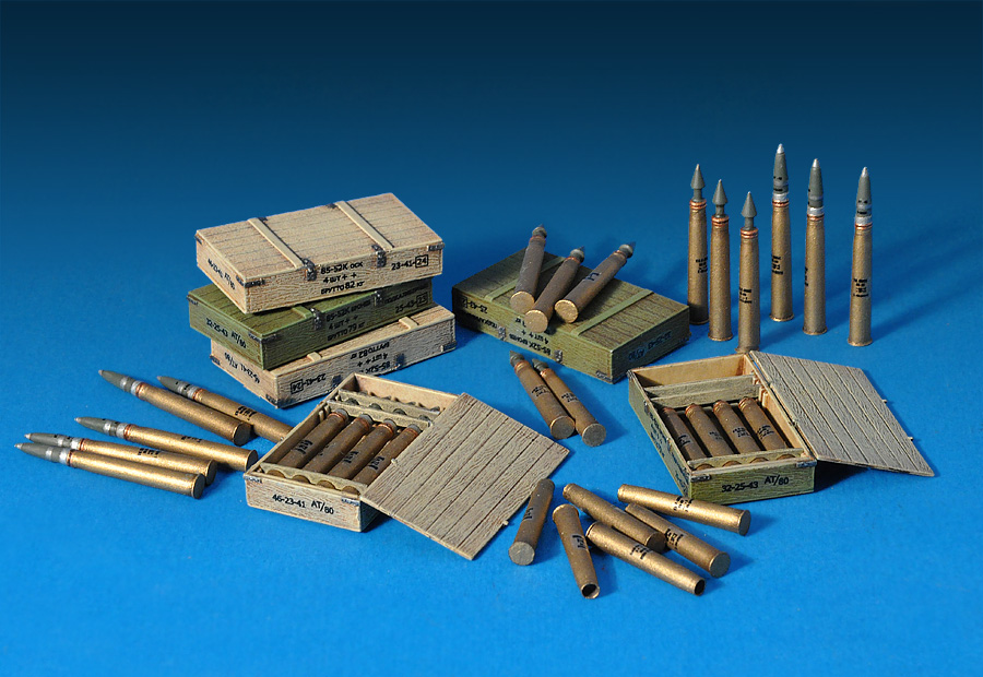 35079 SOVIET 85-mm SHELLS w/AMMO BOXES