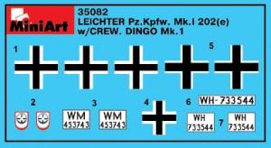 Content box 35082  Leichter PzKpfWg Mk. I 202 ( e) with Crew Dingo Mk. I