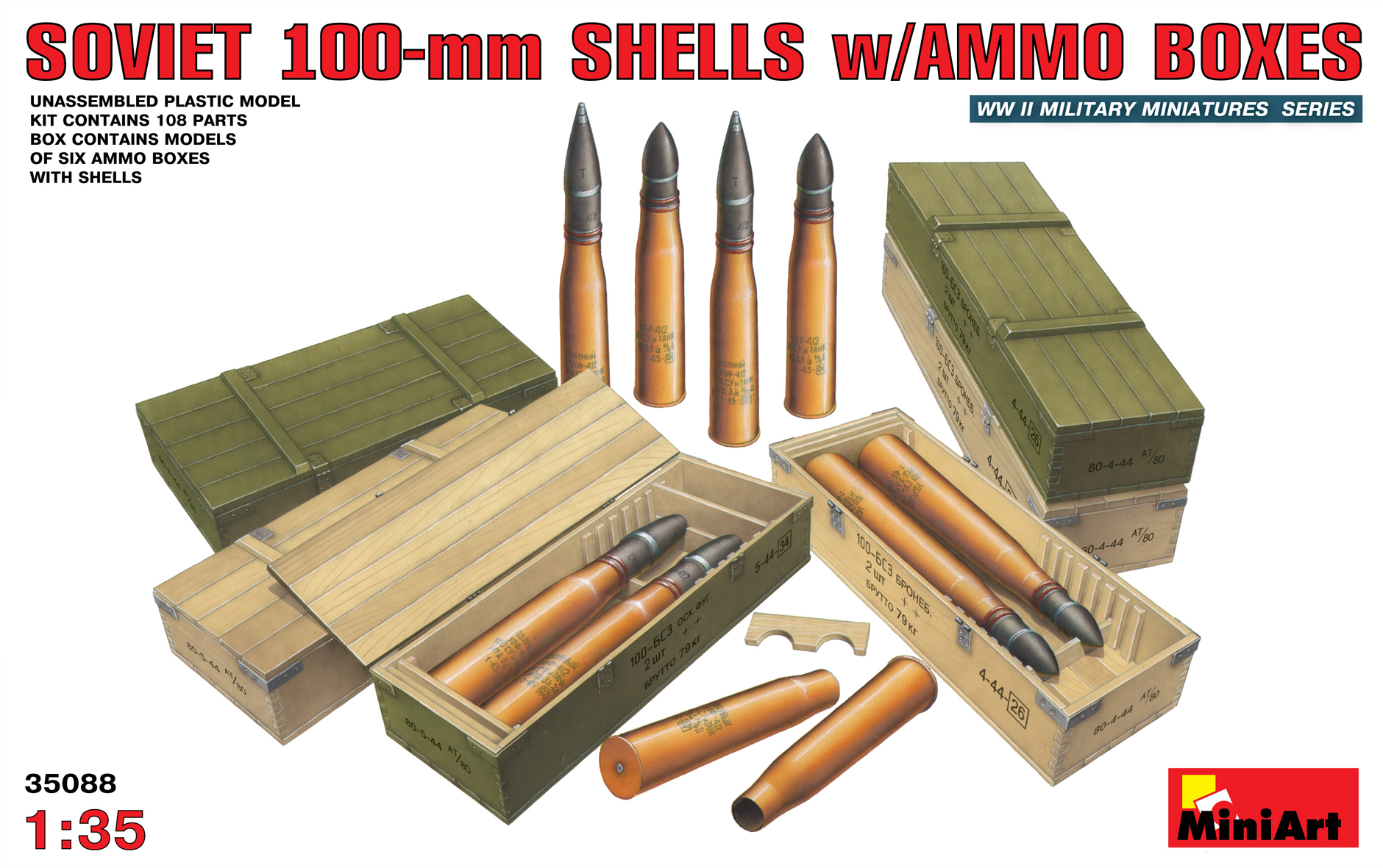 35088 SOVIET 100-mm SHELLS w/AMMO BOXES