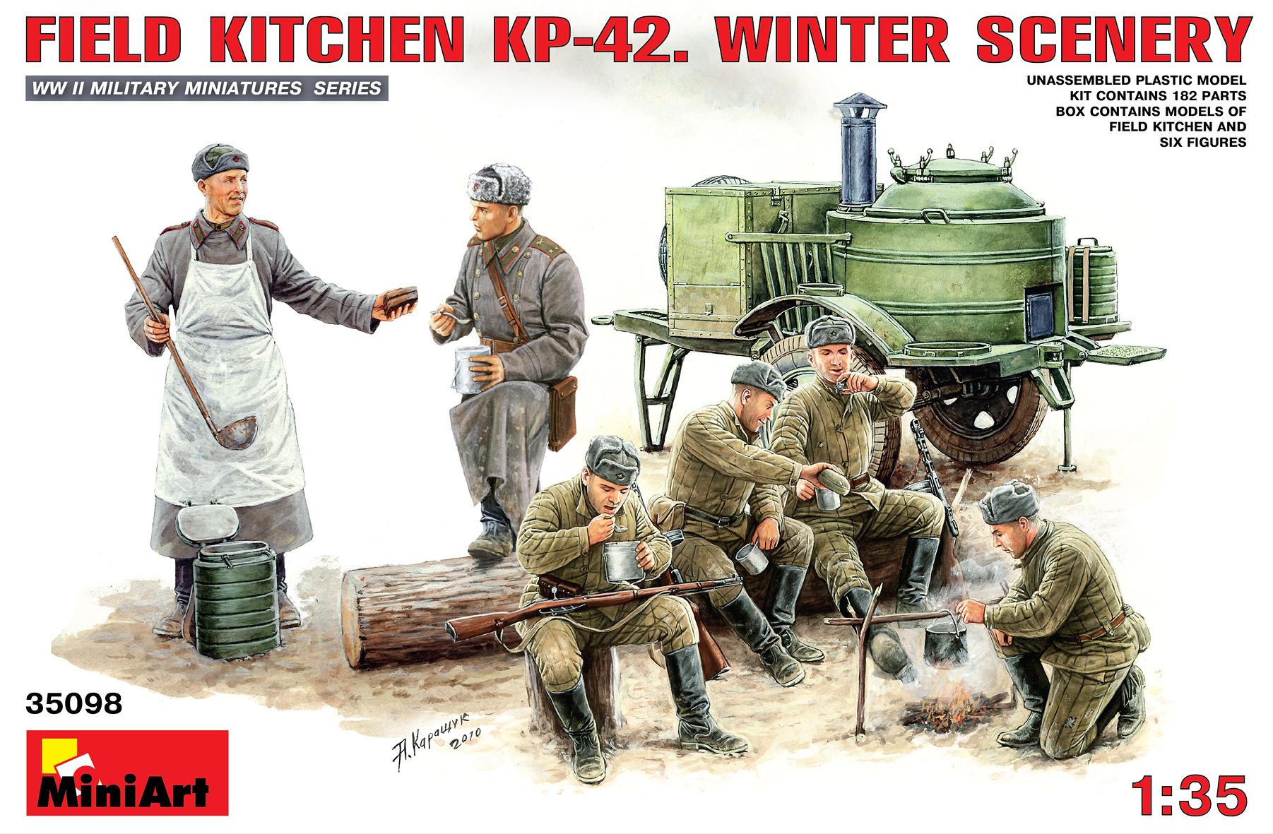 35098ソビエトフィ-ルドキッチンKP-2冬季バ-ジョンフィギュア6体付