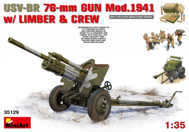 35129 USV-BR 76-mm GUN Mod.1941 w/ LIMBER AND CREW