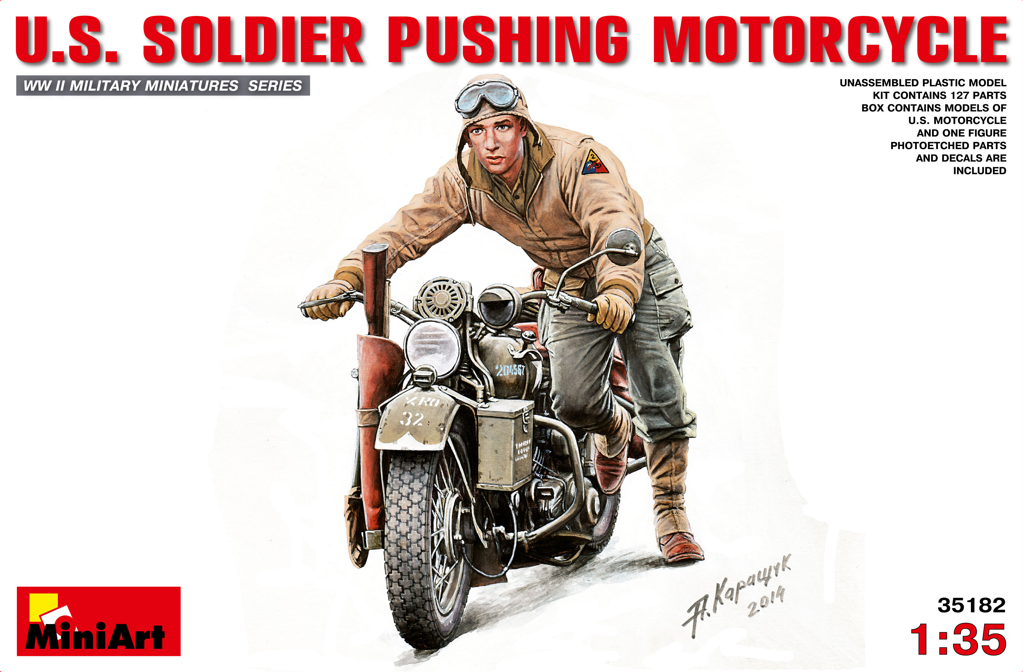 U.S Military Policeman w// Motorcycle Plastic Kit 1:35 Model MINIART
