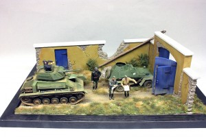 36033 DIORAMA w/FARM WALL + 35038 SOVIET T-80 LIGHT TANK w/CREW + 35097 BA-64B SOVIET ARMOURED CAR w/CREW