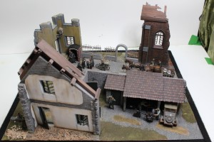 36015 VILLAGE DIORAMA BASE + 36017 EUROPEAN FARMYARD + 36028 VILLAGE DIORAMA w/FONTAIN + 36030 DIORAMA w/RUINED CHURCH
