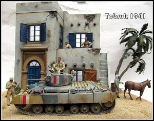 35025 T-70 M EARLY PRODUCTION SOVIET LIGHT TANK w/CREW + 35540 NORTH AFRICAN HOUSE + 35116 BRITISH INFANTRY TANK Mk.III VALENTINE I + 35078 BRITISH TANK CREW + 35548 FURNITURE SET + 35550 WOODEN BARRELS & VILLAGE UTENSILS