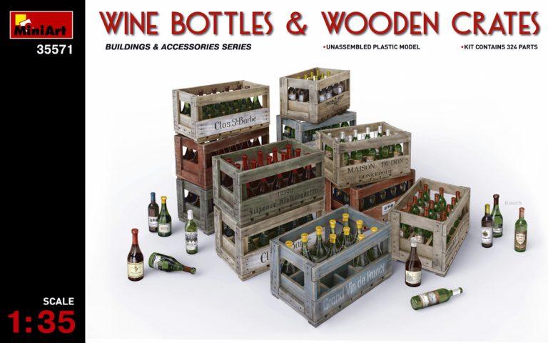 35571 WINE BOTTLES & WOODEN CRATES