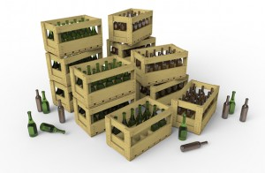 3D renders 35571 WINE BOTTLES & WOODEN CRATES