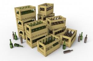 3D renders 35571 WINE BOTTLES & WOODEN CRATES