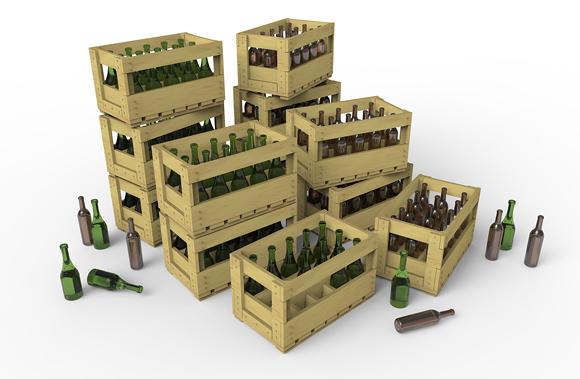35571 ワインボトル&木枠箱