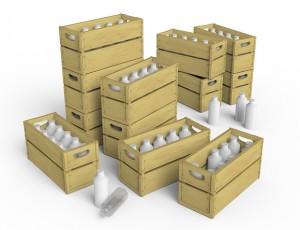 3D renders 35573 牛奶瓶&木箱