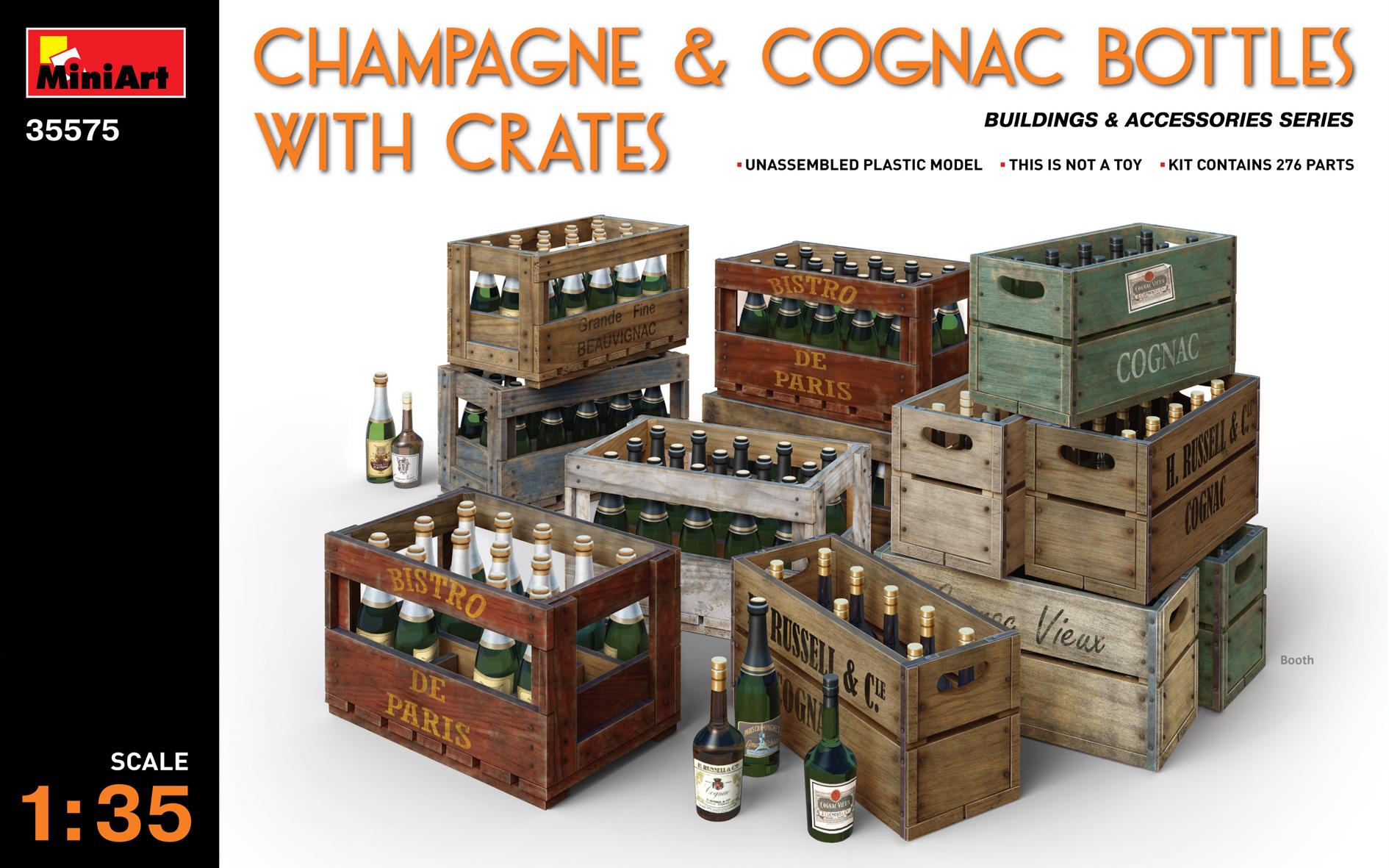 35575 CHAMPAGNE & COGNAC BOTTLES w/CRATES