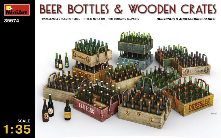 35574 BEER BOTTLES & WOODEN CRATES