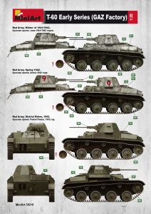 Side views 35215 T-60 EARLY SERIES. SOVIET LIGHT TANK. INTERIOR KIT