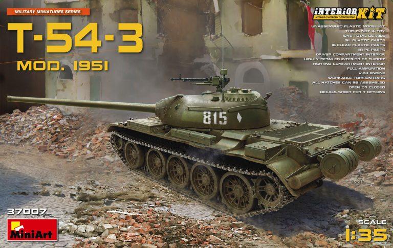 37007 T-54-3 SOVIET MEDIUM TANK. Mod 1951.  INTERIOR KIT
