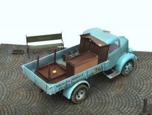35142 MB 1500S GERMAN 1,5t CARGO TRUCK + 36046 COBBLESTONE PAVEMENT + 35548 FURNITURE SET