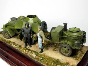 35027 Soviet Officers at Field Briefing + 35097 BA-64B Soviet Armoured Car w/crew + 35098 Field Kitchen KP-42.Winter Scenery + Petr Bednarik