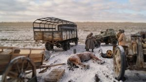 35022 SOVIET TANK CREW. WINTER 1943-45 + 35097 BA-64B SOVIET ARMOURED CAR w/CREW + 35542 FARM CART + Sergei Biletsky