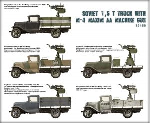Side views 35186 ソビエト1.5トントラックM-4マキシムAAマシンガン装備