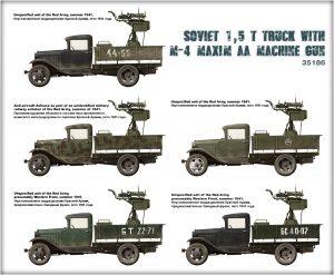Side views 35186 SOVIET 1,5 t. TRUCK w/ M-4 Maxim AA Machine Gun