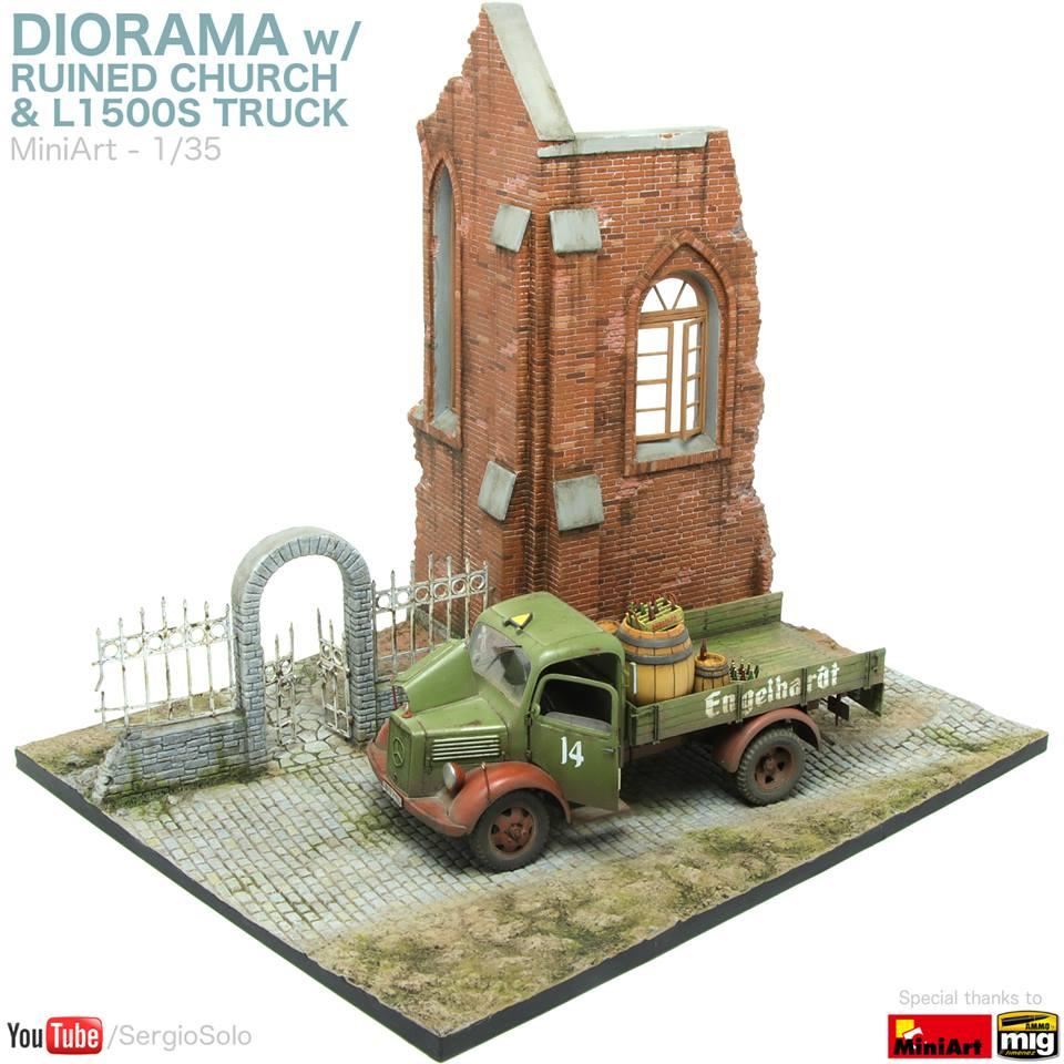 Miniart - 36030 DIORAMA w/RUINED CHURCH + Maboc Diorama
