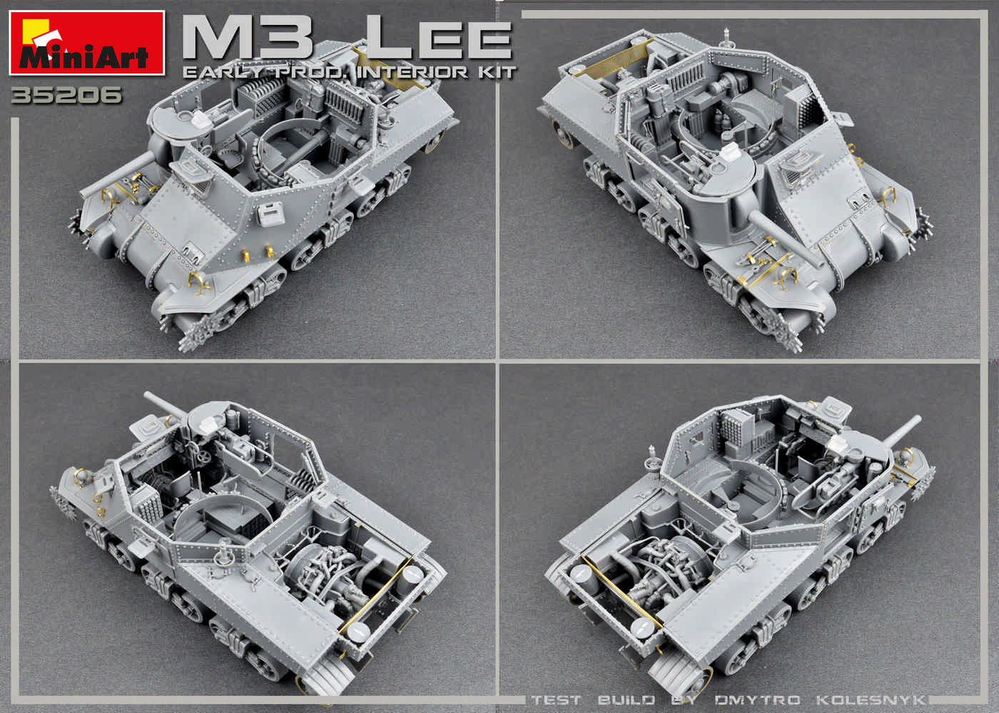 New Build Up and Side Views of 35206 M3 LEE EARLY PRODUCTION. INTERIOR KIT
