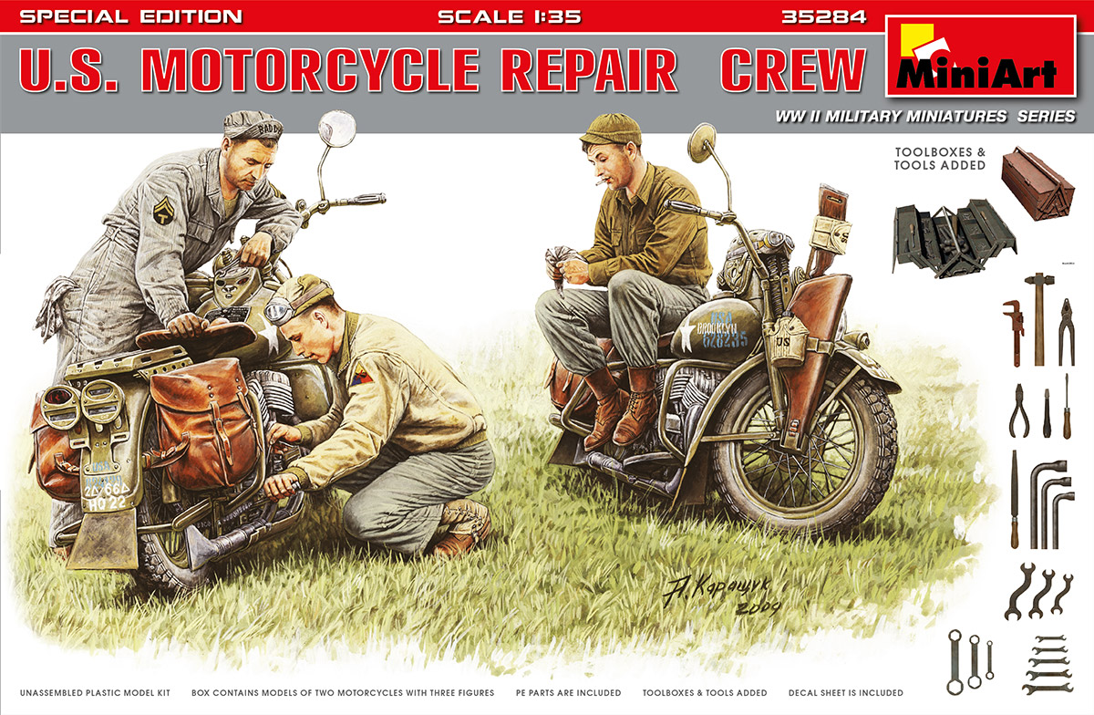 Motorcycle Repair Crew Special Edition Miniart 35284 1:35th scale U.S
