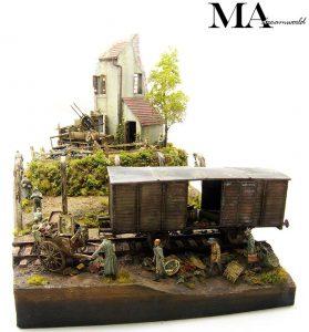 36021 DIORAMA w/NORMANDY HOUSE + MA Diorama