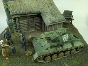 35542 FARM CART + 35025 T-70M EARLY PRODUCTION SOVIET LIGHT TANK w/CREW + 38011 SOVIET VILLAGERS + GEORGE KOUTSOUKOS