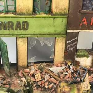 36036 DIORAMA WITH RUINED BUILDINGS + Hurkaway Painting Studio
