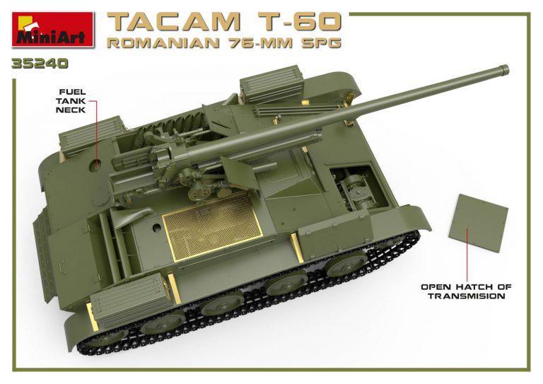 35240 Rumänischer 76-mm SPG Tacam T-60 mit Innenausstattung