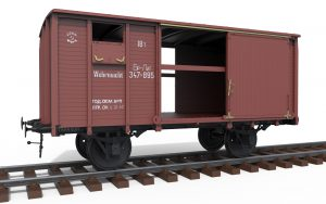 "3D renders 35288 RAILWAY COVERED GOODS WAGON 18t ""NTV"" TYPE"