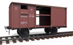 """3D renders 35288 Eisenbahnwagon geschlossen 18t Typ """"NTV"""""""