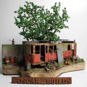 38009 EUROPEAN TRAMCAR (StraBenbahn Triebwagen 641) w/CREW & PASSENGERS + 35583 CABLE SPOOLS + Oscar (@oscar_builds)