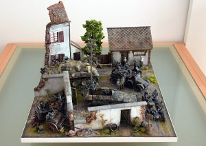 36033 DIORAMA w/FARM WALL + 36021 DIORAMA w/NORMANDY HOUSE + 36032 DIORAMA WITH BARN  + 35167 GERMAN TANK CREW + 35550 WOODEN BARRELS & VILLAGE UTENSILS + Josef Haidinger