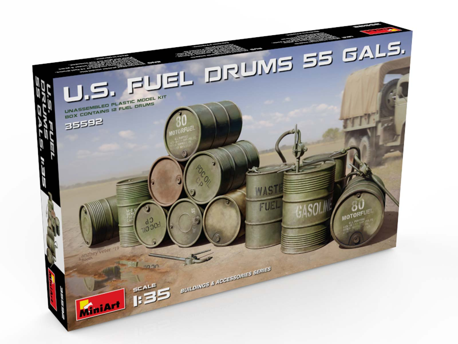 New Photos of Kit: 35592 U.S. FUEL DRUMS 55 GALS.