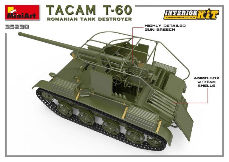 35230 TACAM T-60 ROMANIAN TANK DESTROYER. INTERIOR KIT