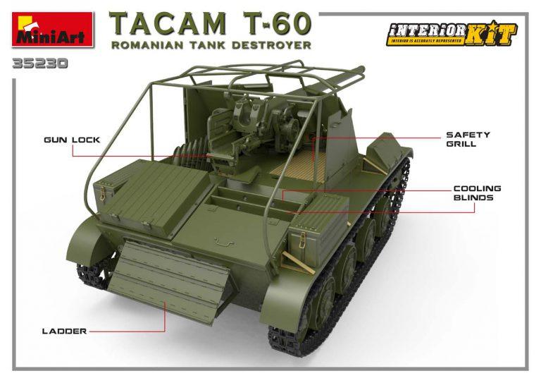 35230 TACAM T-60 rumänischer Panzerjäger Kit mit Inneneinrichtung