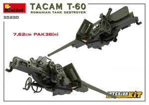 3D renders 35230 TACAM T-60 rumänischer Panzerjäger Kit mit Inneneinrichtung