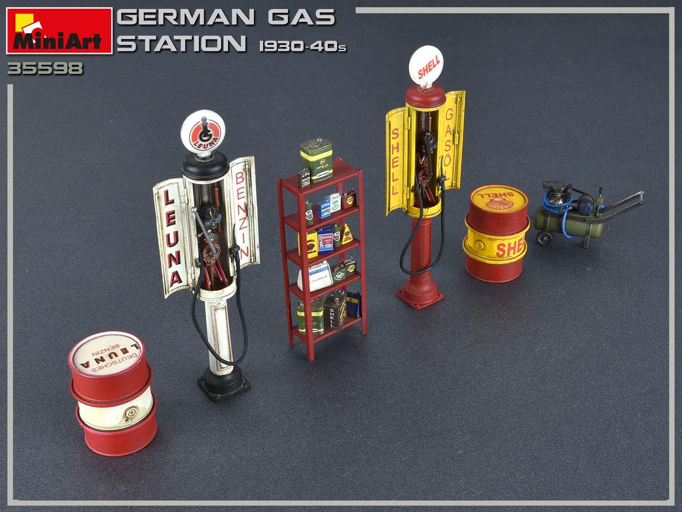 Deutsche Tankstelle ca 30er Jahre Bausatz MiniArt,1:35,OVP,35598,HB Epoche II