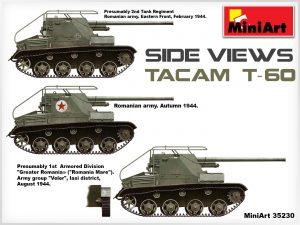 Side views 35230 TACAM T-60 rumänischer Panzerjäger Kit mit Inneneinrichtung