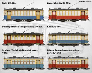 Side views 38020 SOVIET TRAM X-SERIES. EARLY TYPE