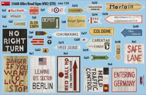 Content box 35608 ALLIED ROAD SIGNS WWII. EUROPEAN THEATRE OF OPERATIONS