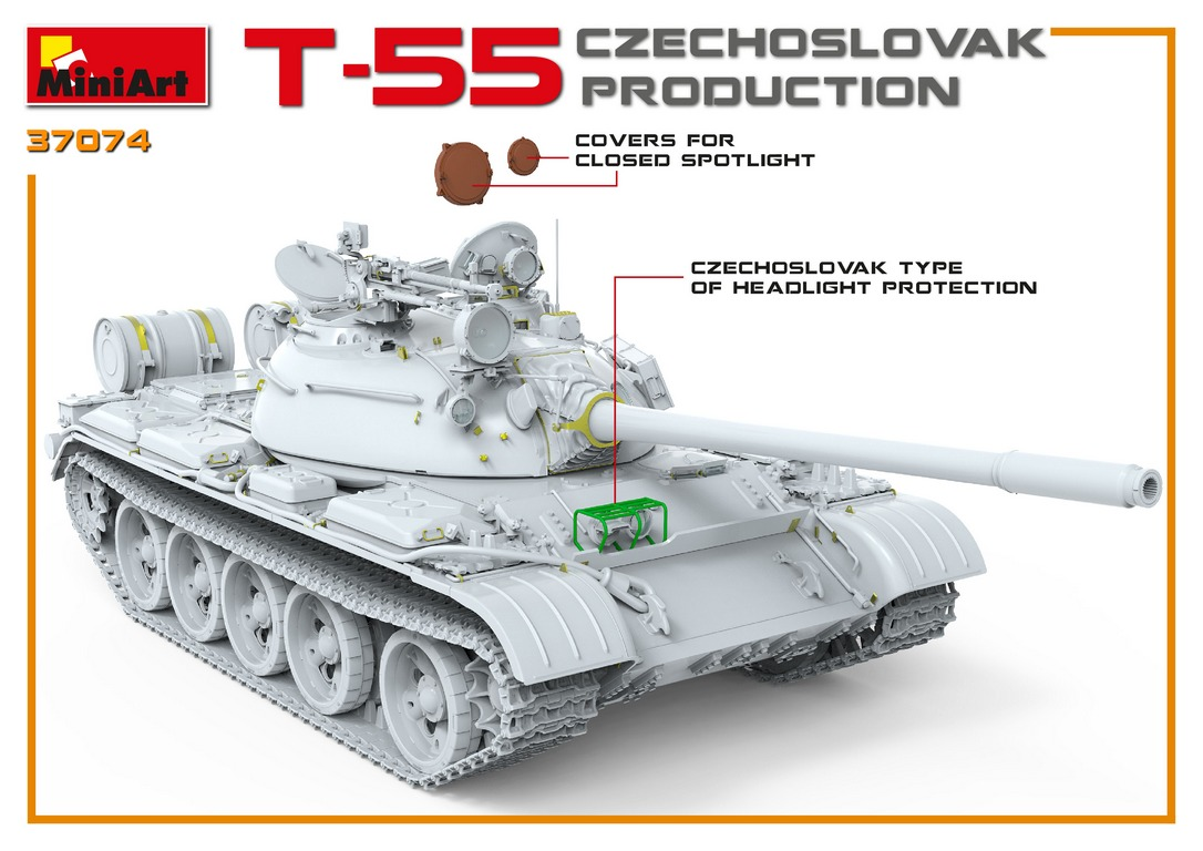 New 3D Renders of Kit: 37074 T-55 CZECHOSLOVAK PRODUCTION