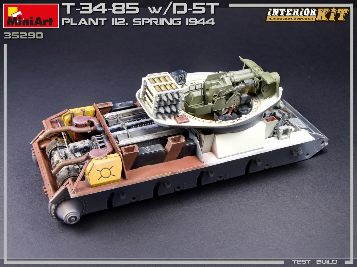 Build Up (Part №2) of Kit: 35290 T-34/85 w/D-5T. PLANT 112. SPRING 1944. INTERIOR KIT