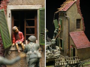 36021 DIORAMA w/NORMANDY HOUSE + Love Scale Models