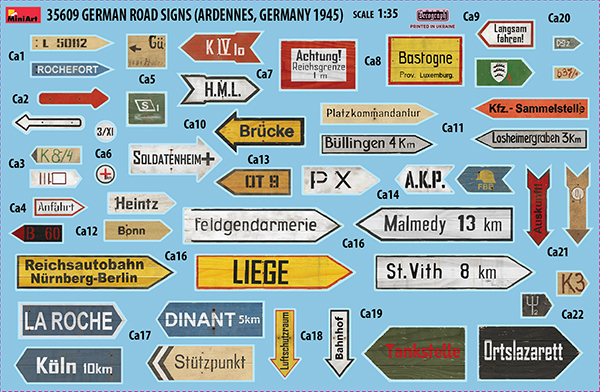 35609 GERMAN ROAD SIGNS (ARDENNES, GERMANY 1945)