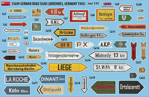 35609 Deutsche Straßenschilder (Ardennen, Deutschland 1945)